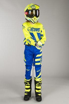 Komplet Cross Alpinestars Racer Braap Dziecięcy Niebiesko-Neonowo-Żółty