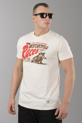 T-Shirt Ride&Sons Motorcycle Races Waniliowy