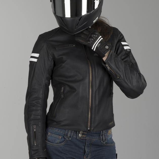 35ba5d9a2 Segura Ladies Retro Leather Jacket Black-White
