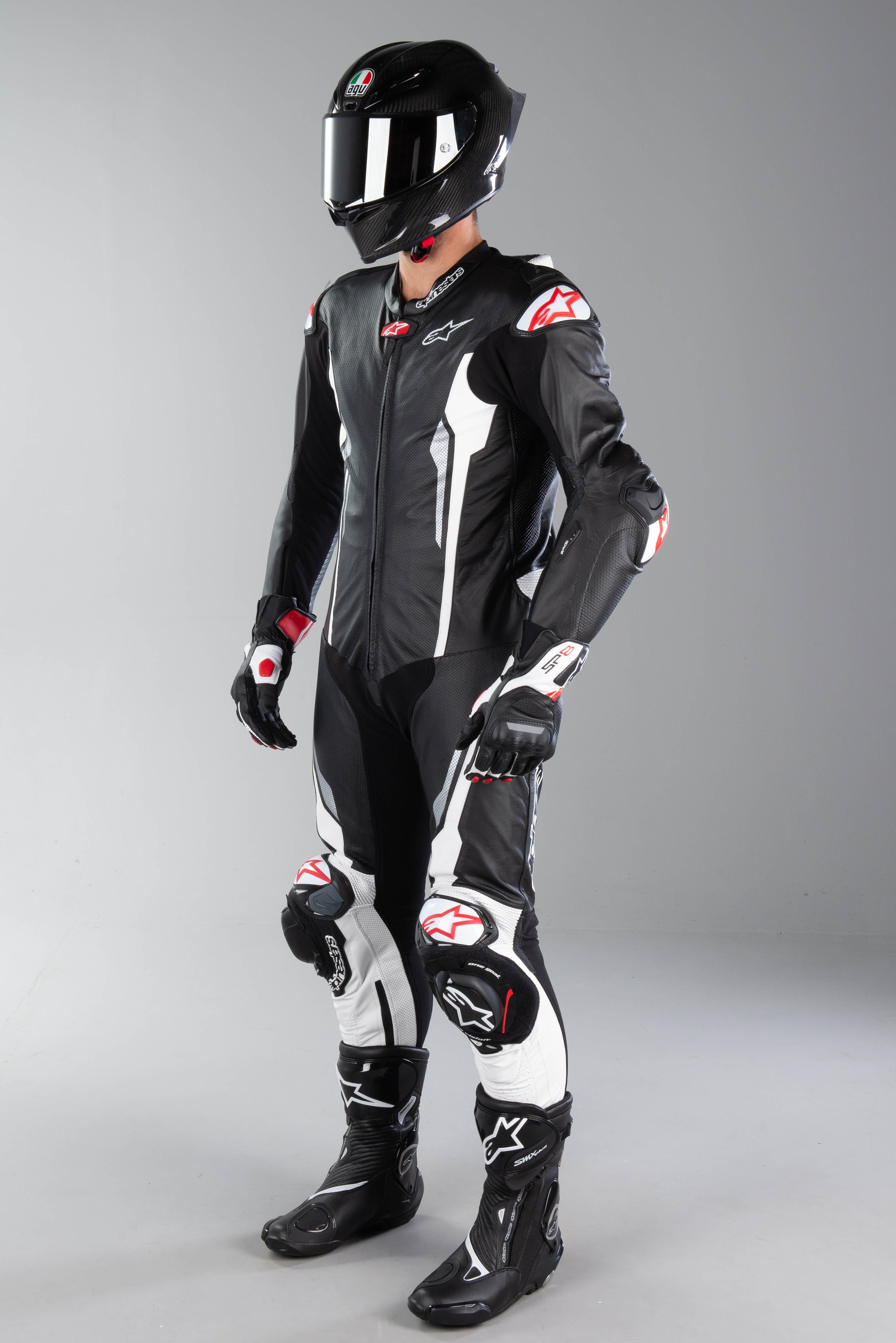 Alpinestars Racing Absolute One-Piece Leather Suit Tech Air Compatible Black//White 50