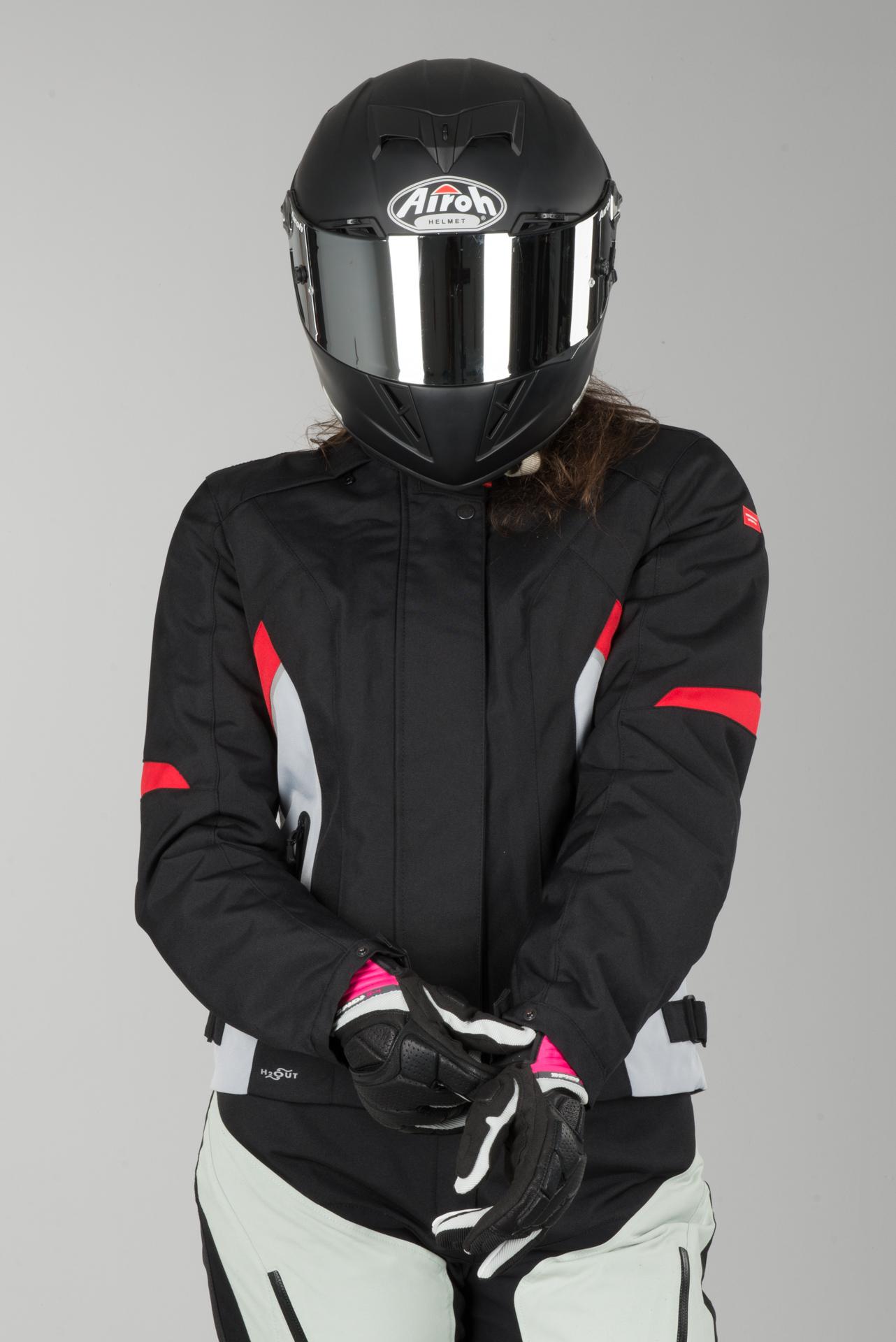 Ladies Flash Red Spidi Jacket H2out Black Grey E2HD9I