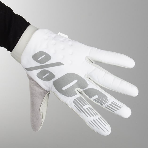 100% Brisker MX Gloves White-Silver