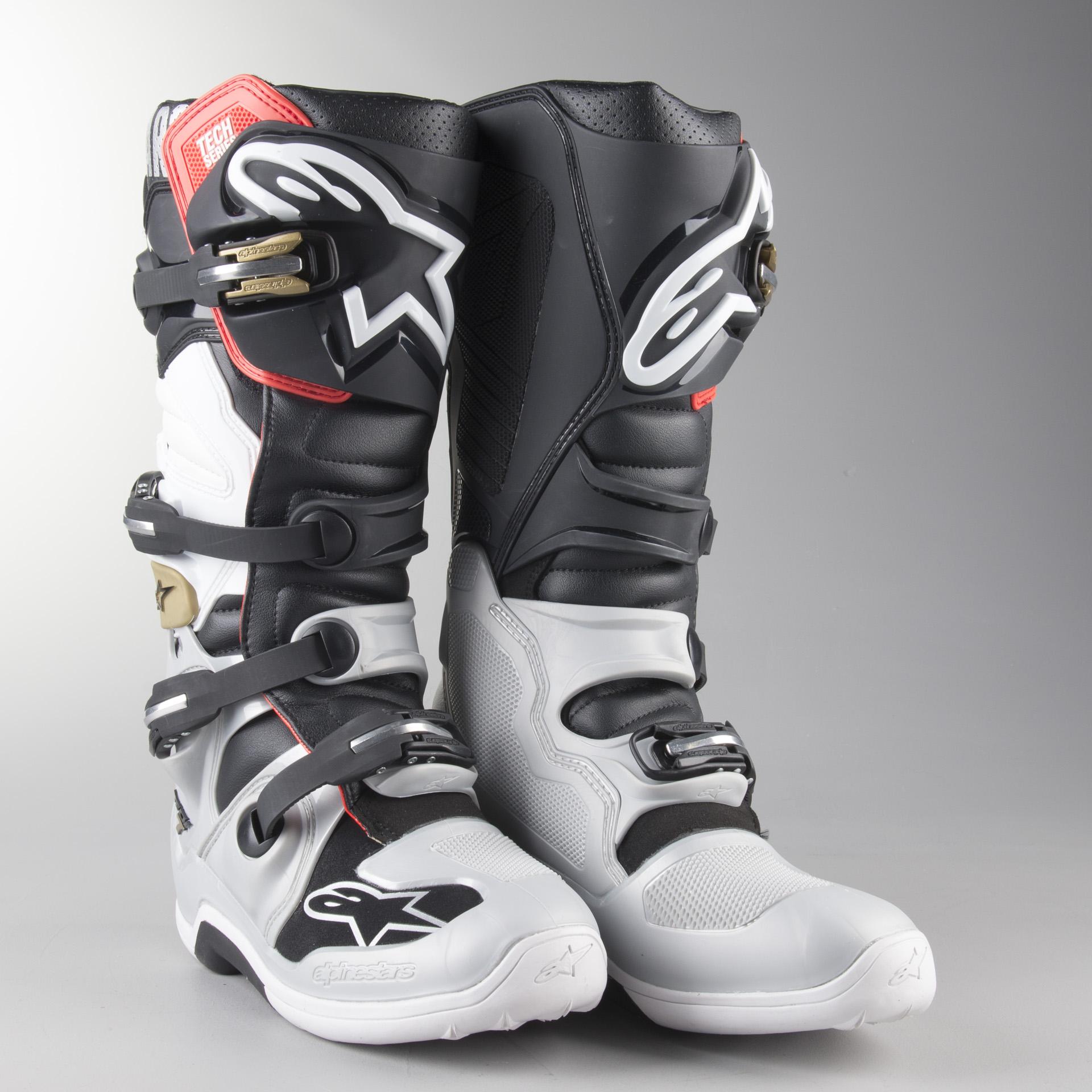 Alpinestars Youth Tech 7S Motocross Boot Black//Silver//White//Gold 4