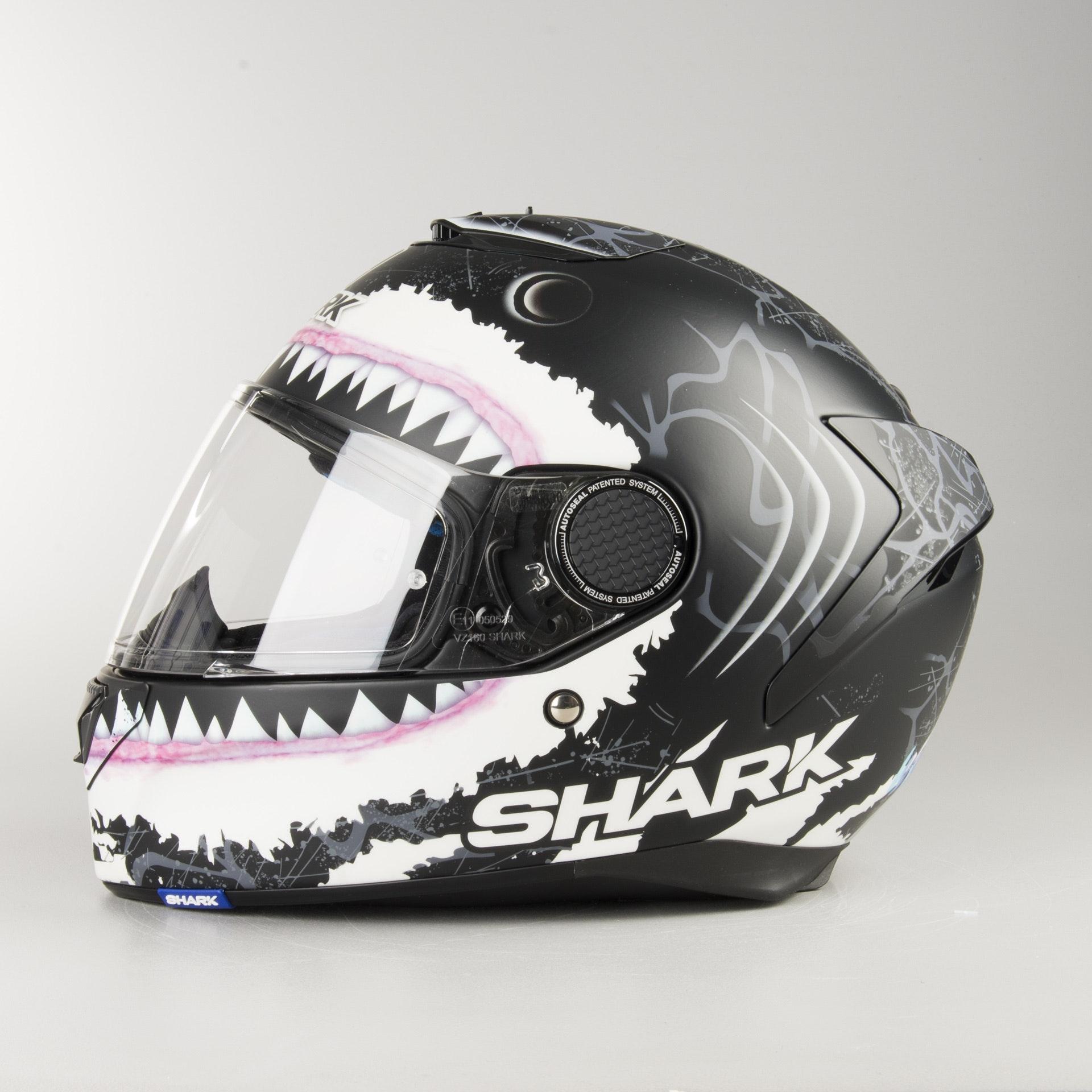 Gris//Blanco Shark Moto Casco Hark/ /Spartan Lorenzo WHT Mat Talla XS