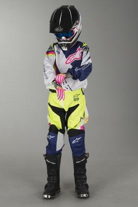 Alpinestars Youth Racer Supermatic Kit White-Blue-Fluorescent Yellow
