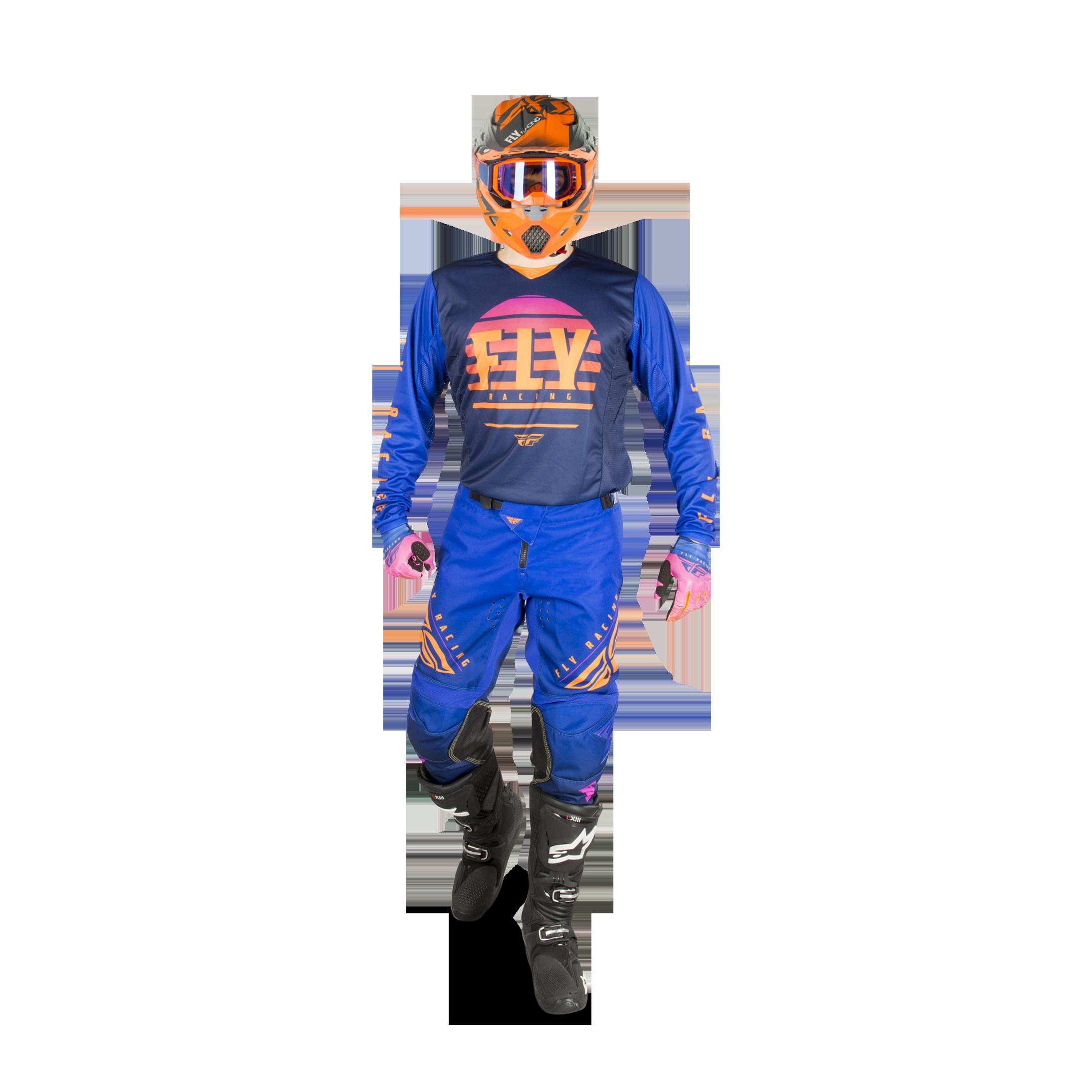 2020 FLY RACING KINETIC RACEWEAR K220 MIDNIGHT BLUE ORANGE JERSEY /& PANT GEAR