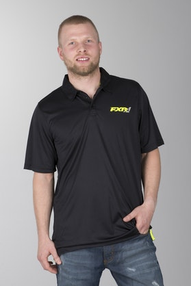 FXR Infinite Polo Shirt Black-HiVis