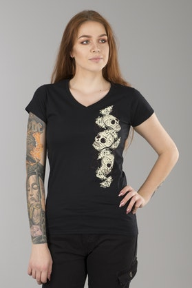 T-Shirt Lucky 13 Tres Skull Damski Czarny
