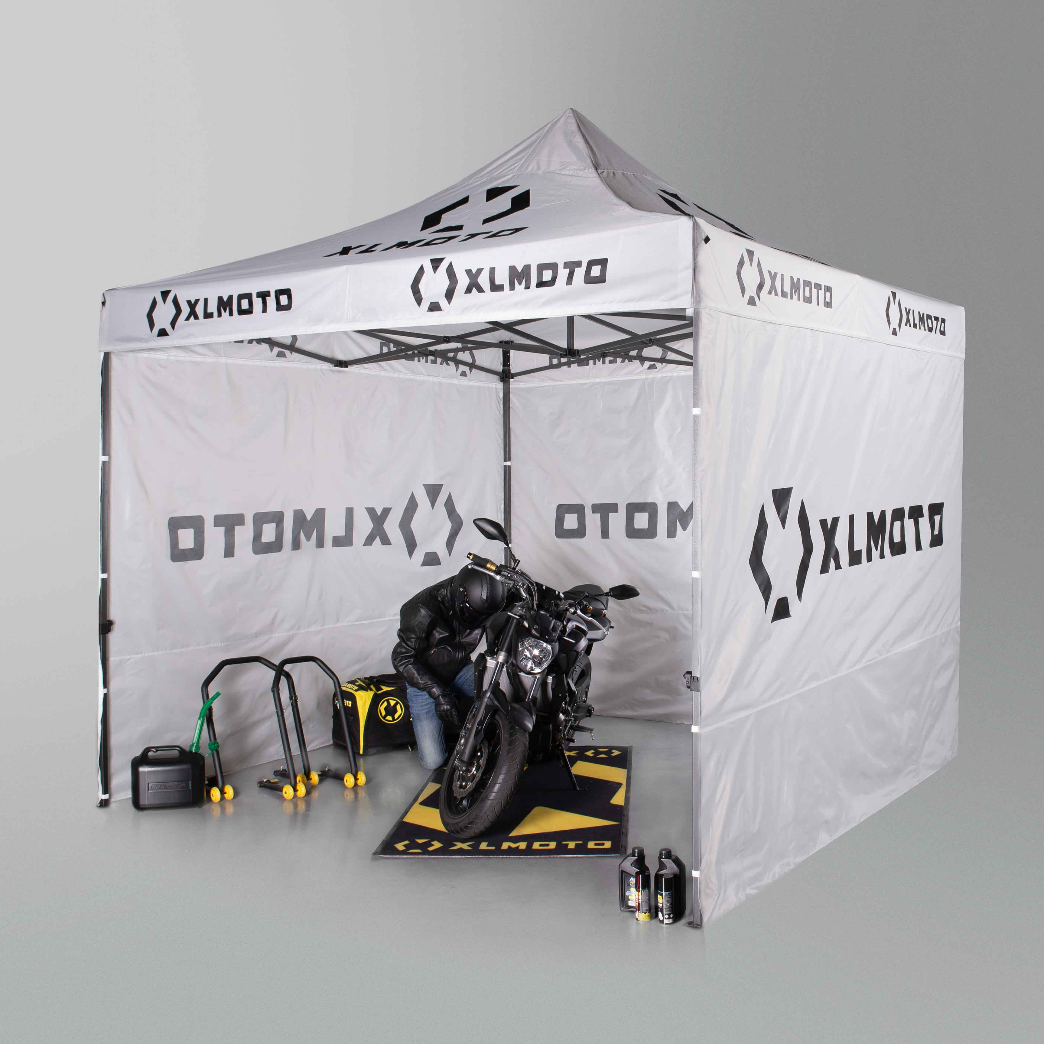 XLMOTO Easy Up Race Tent 3x3m With Walls Black