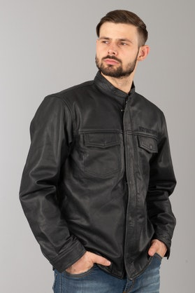 West Coast Choppers OG Perforated Leather Shirt Black
