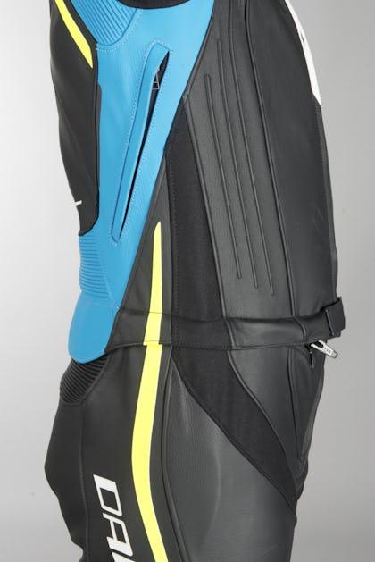 Kožená Kombinéza Dainese Laguna Seca 4 Dvojdílná Černo-Modro-Neonově Žlutá