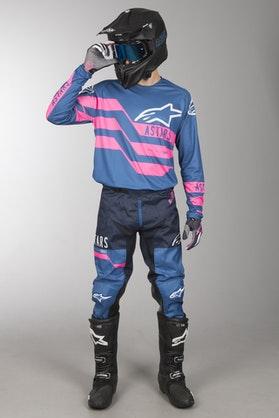 MX Souprava Alpinestars Racer Flagship Modrá-Růžová