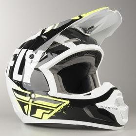 FLY Kinetic Burnish Cross-Helmet Black-White-HiVis