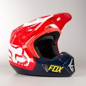 Kask Cross Fox V2 Preme Niebiesko-Czerwony MX 18