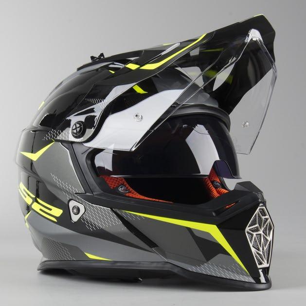 Adventure Helma LS2 MX436 Pioneer Ring Černo-Titanově-Neonová