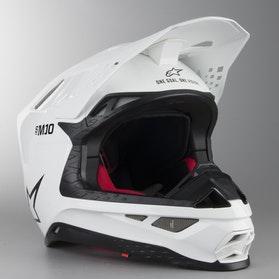 Kask Cross Alpinestars Supertech S-M10 Solid Lśniąco Biały