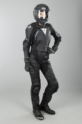 Dainese Avro D2 Women's 2-Piece Leathers Black-Grey