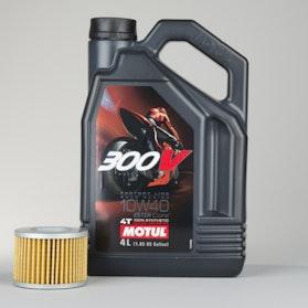 Olej syntetyczny 4T Motul 300V 4T + Filtr oleju Snell