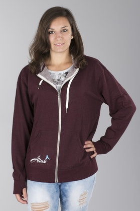 Alias Ladies Flier Zip Burgundy Hoodie