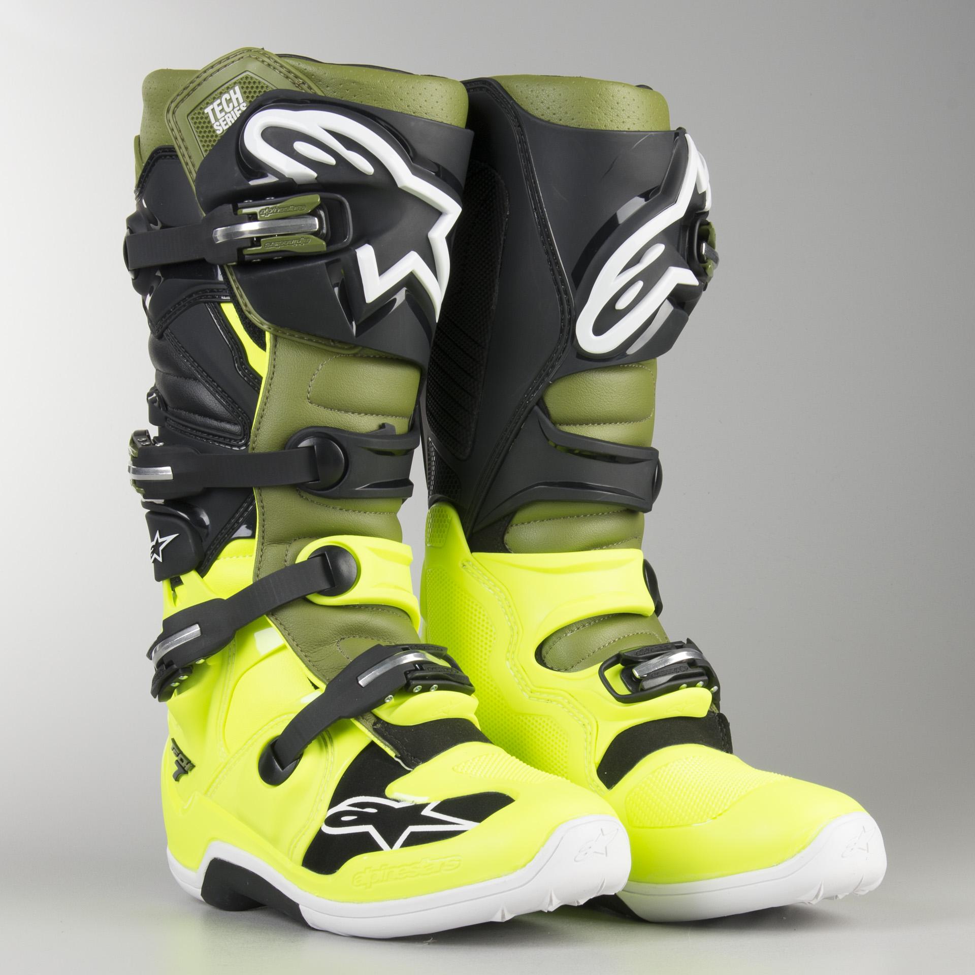 Alpinestars Mens Tech 7 Boots White//Yellow//Blue, Size 8