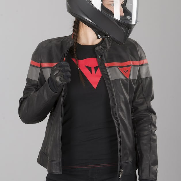 usa cheap sale best deals on lower price with Dainese Blackjack Women's Leather Jacket Black-Grey-Red - Now 41 ...
