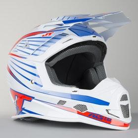 JT Racing ALS 1.0 Motocross Helmet White-Red-Blue