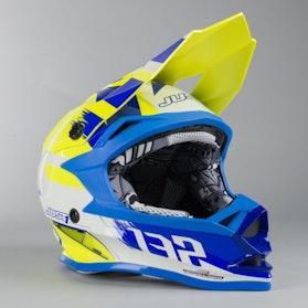 Kask Cross Just1 J32 Pro Kick Dziecięcy Biało-Niebiesko-Żółty