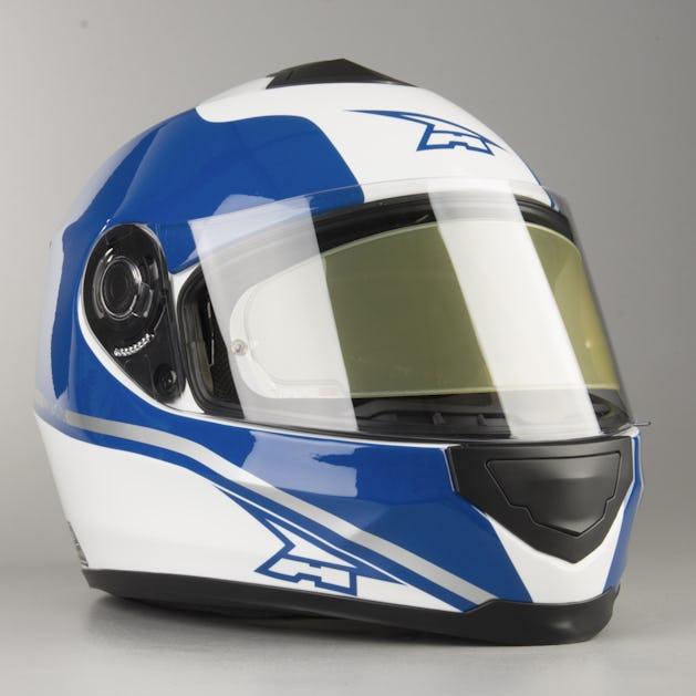 31b864a9 AXO Corsair Integral Helmet - White-Blue - Get 20% off today - XLmoto.ie