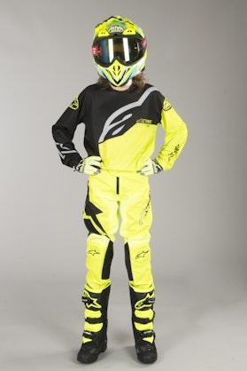 Komplet Cross Alpinestars Racer Factory Dziecięcy Czarno-Neonowo-Żółty
