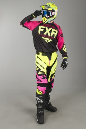 FXR Clutch Retro MX Clothes Black-Fuchsia-HiVis