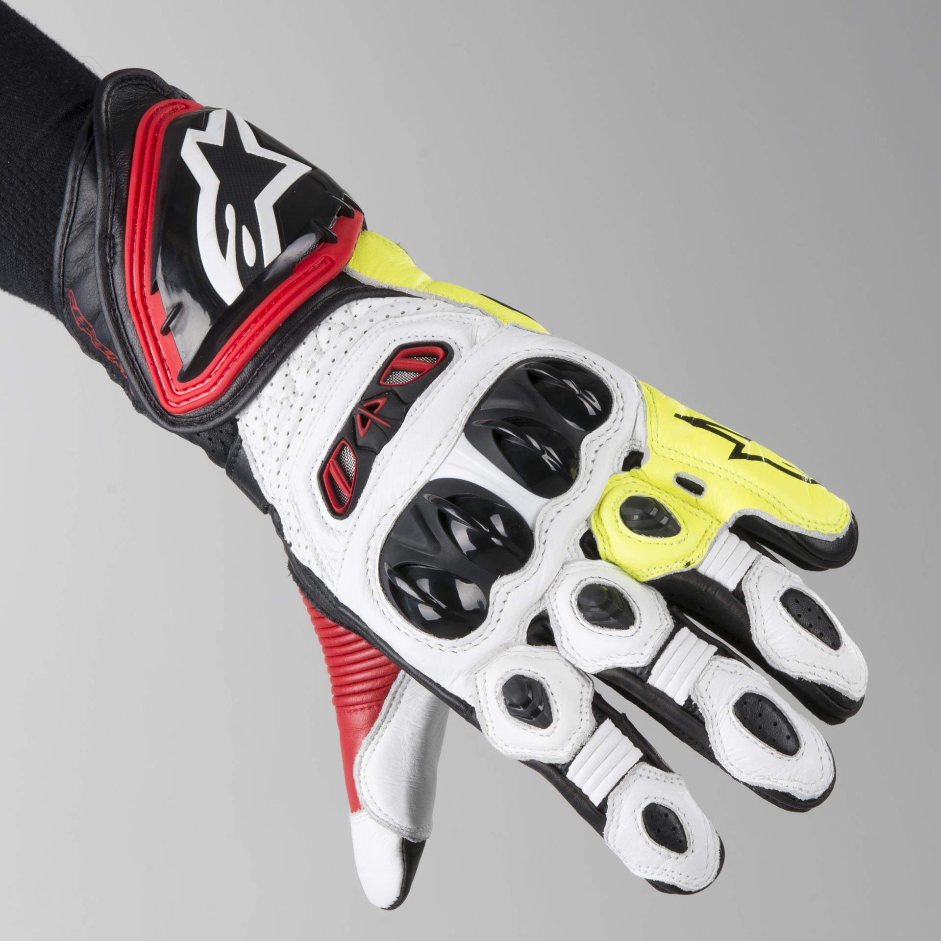Alpinestars GP Tech Gloves Black Red Fluorescent