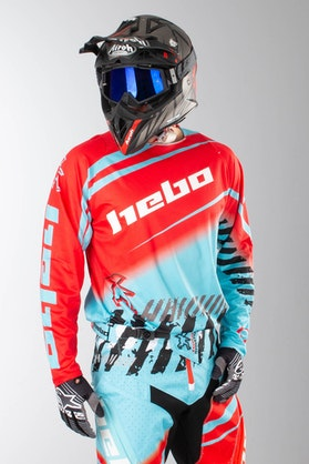 Bluza Cross Hebo Stratos Enduro-Cross Stratos Cyjanowo-Czerwona