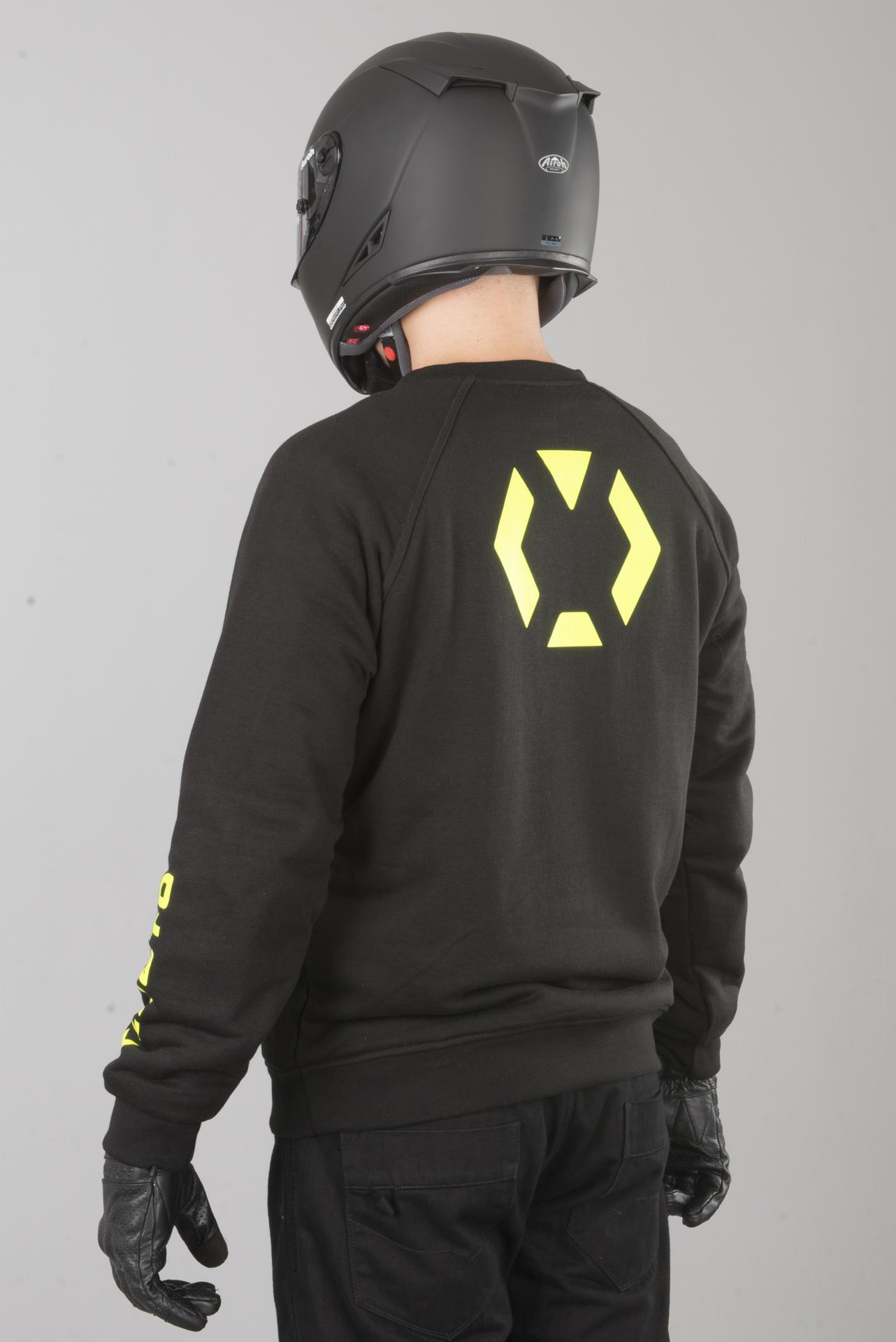 XLMOTO Motorrad Sweatshirt Aramidverstärkt Schwarz Gelb
