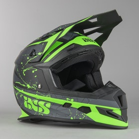 IXS 361 2.0 MX Helmet Matte Black-Green-White