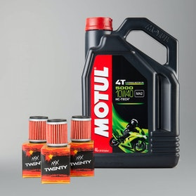 Motul 5000 4T Semi-Synthetic 10W40 4L Motor Oil + Oil Filter Twenty 3-Pack
