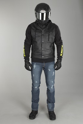 XLMOTO Full Aramid® Hoodie -  Fluo Yellow + Leather Vest + Ripped Aramid® Jeans