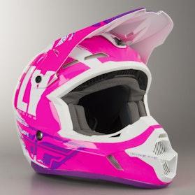 FLY Kinetic Burnish Cross-Helmet Pink-White-Purple