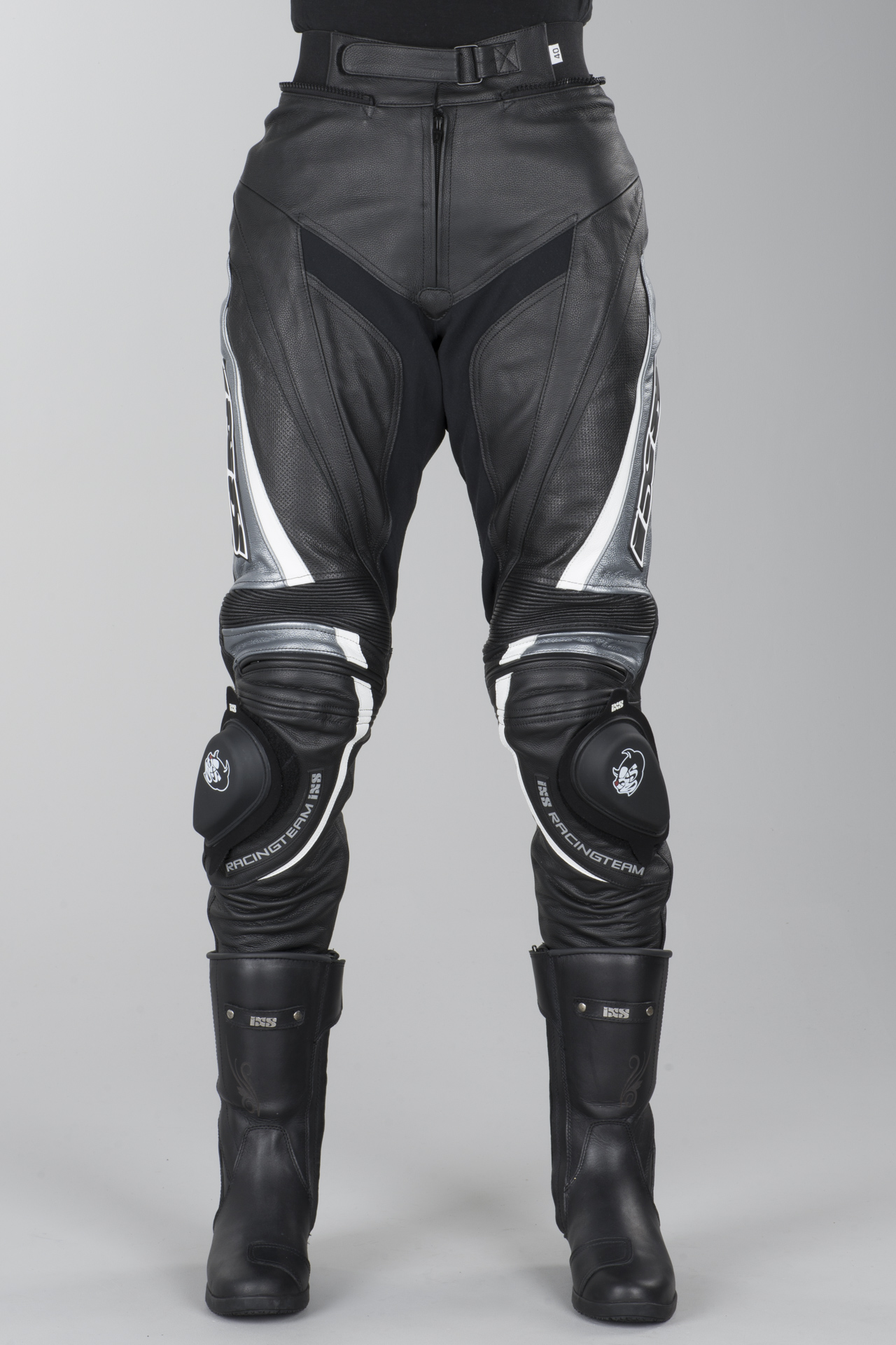 Spodnie skórzane IXS Robin 2 Czarny Szary Biały Kobieta