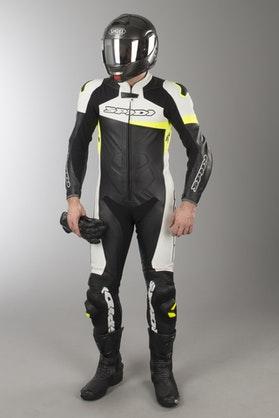 Kombinezon Skórzany Spidi Race Warrior Perforowany Czarno-Żółty Fluorescencyjny