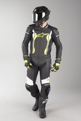 Alpinestars GP Force Leather Suit Black-White-Yellow Fluo 2 Parts