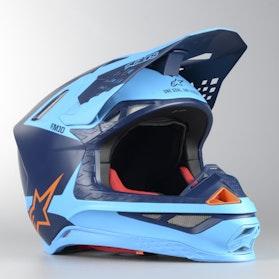 Kask Cross Alpinestars Supertech S-M10 Meta Czarno-Niebiesko-Fluorescencyjno Pomarańczowy