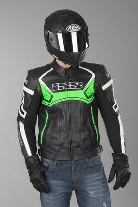 IXS Hype Black-Green-White Leather Jacket