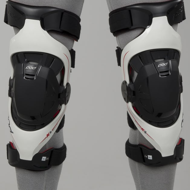 Mx Knee Braces >> Pod K4 Mx Knee Brace Pair Grey Red