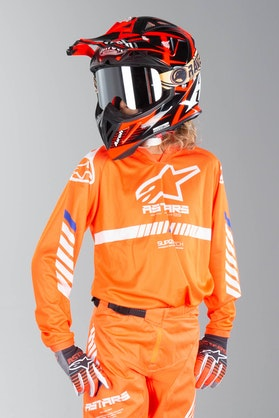 Alpinestars Racer Tech Kid's MX Jersey Fluo Orange-White-Blue