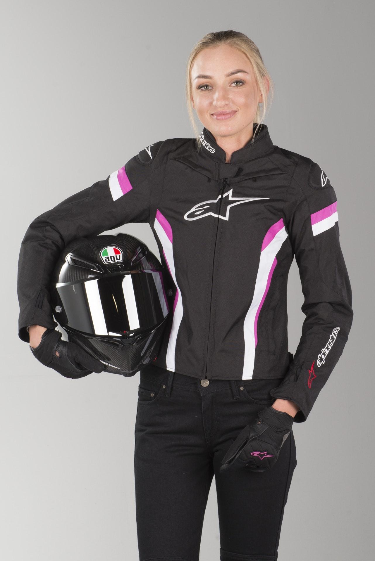Astars Womens Black//White//Fuchsia Stella T-GP Plus R v2 Air Motorcycle Jacket