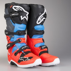 Alpinestars Tech 7 Boots Fluorescent Red-Cyan-Grey-Black