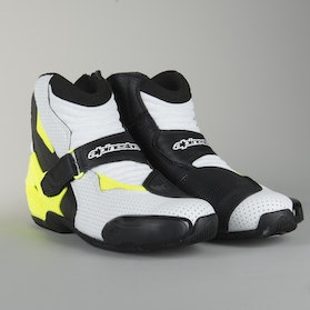 Alpinestars SMX-1 R Vented Moto Boots Black-White-Fluorescent Yellow