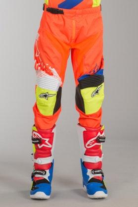 Alpinestars Racer Screamer Youth MX-Trousers - Orange-Blue-White-Yellow