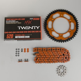 MX Twenty Delta/Interlink X-Ring Chain & Sprocket Kit Orange