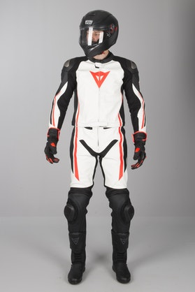 Dainese Assen 2-Piece Leathers White-Black-Red